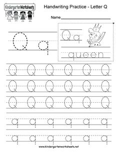 Letter Q writing worksheet for kindergarten kids. This series of handwriting alphabet worksheets can also be cut out to make an original alphabet booklet.