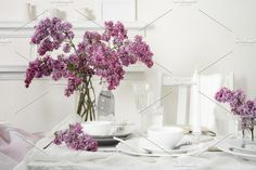 FLOWERS OF LILAC Photos A bouquet of lilacs on the table. Purple and vanilla . Simple and noble . Feminine and beautif by OntheMoon Coffee Images, Website Images, Business Illustration, Business Card Logo, Glass Vase, The Creator, Bouquet, Stock Photos, Creative