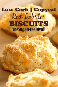 Enjoy these amazing biscuits without all of the carbs with this delicious recipe for Low Carb Copycat Red Lobster Biscuits. Keto, GF, and Vegan options. Keto Foods, Healthy Low Carb Recipes, Low Carb Dinner Recipes, Keto Recipes, Low Carb Meals, Jelly Recipes, Copycat Recipes, Bread Recipes, Healthy Foods