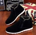 New Mens Faux Suede round toe flat ankle boots winter warm casual shoes Black 8