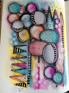 Watercolour mixed media art journal page #art #artjournalling #artjournalpage…