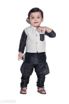 Kurta Sets Fancy Silk Cotton Blend Kurta Kid's Boys Pyjama Set  *Fabric* Silk Cotton Blend  *Sleeves* Waist Coat - Sleeves Are Not Included & Kurta - Sleeves Are Included  *Size* Age Group (6 Months - 12 Months) - 14 in  *Type* Stitched  *Description* It Has 1 Piece Of Kid's Boy's Kurta With 1 Piece Of Kid's Pyjama & 1 Piece Of Kid's Waist Coat  *Work & Pattern* Kurta & Pyjama - Solid , Waist Coat - Printed  *Sizes Available* 2-3 Years, 3-4 Years, 4-5 Years, 6-12 Months, 12-18 Months, 0-1 Years, 1-2 Years *    Catalog Name: Ethnic Fancy Silk Cotton Blend Kurta Kid's Boys Pyjama Set Vol 2 CatalogID_431651 C58-SC1170 Code: 242-3145238-