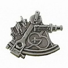Geocaching / Geocoin lapel pin: Sextant, antique silver, trackable