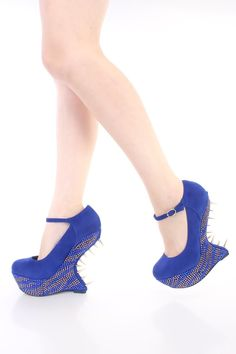 Royal Blue Spike Trimmed Rhinestone Gravity Wedges Faux Suede