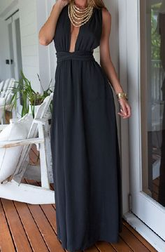 Criss Cross Backless Lace Up Black Dress
