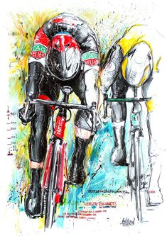 Jurgen Roelandts, BMC-Racing Team, wins stage 5 Tour of Comunidad Valenciana 2018 x 70 cm) Bicycle Illustration, Graphic Illustration, Cycle Painting, Bike Drawing, Baby Bike, Bike Poster, Bicycle Art, A Level Art, Mini Paintings