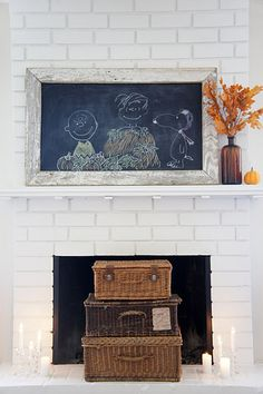 Chalk art over mantle.  I don't know if I'm brave enough for mantle, but maybe elsewhere bold.