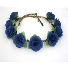 Flower Crown,Navy Blue Flower Crown,Blue Rose Headband,Blue Flower... ($21) ❤ liked on Polyvore featuring accessories, hair accessories, floral headband, flower garland, rose flower crown, bridal hair accessories and blue flower crown