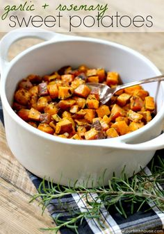 Rosemary and garlic sweet potatoes - Would be delicious with Calivirgin Guilty Garlic and Rustic Rosemary infused Olive Oil on top!