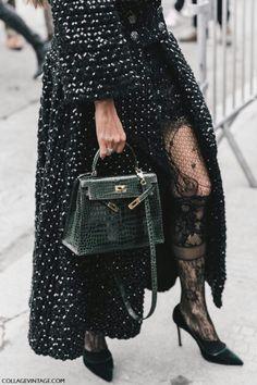 coat + stocking + heels