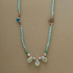 """Delicate strand to wear single, doubled or tripled punctuates tiny apatite beads with smoky quartz, chrysoprase, aquamarine and emerald. Sterling toggle clasp. Handcrafted exclusively for Sundance. 54""""L."""