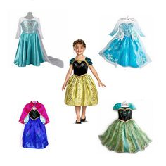 Luckydays! 2014 Hot Baby girls Frozen Anna and Elsa coronation party princess dresses for Halloween,Autumn Winter Kids clothings