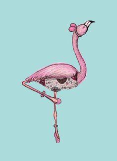 Ballerina Flamingo Print by KestleLane on Etsy