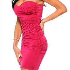 Hot Pink Stretch Cocktail Club Dress