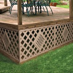 Veranda Brown Wicker Vinyl Privacy Diamond Decorative Lattice Panel X 8 FT Outside Living, Outdoor Living, Outdoor Decor, Vinyl Lattice Panels, Under Deck Storage, Lattice Deck, Plastic Lattice, Mobile Home Porch, Deck Skirting