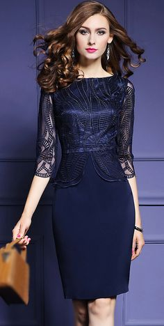 Elegant Embroidery O-Neck 3/4 Sleeve Bodycon Dress