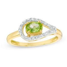 Zales Oval Peridot and Diamond Accent Split Shank Ring in Sterling Silver and 10K Rose Gold NulgV9IN