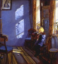 Anna Ancher, Anna Ancher / Solskin i den Blå Stue (Sunshine in the Blue Room), 1891 / The Red Room Amalievej This is Anna Ancher. The Danish painter, part of the Skagen group (the only one to. Art And Illustration, Illustrations, Skagen, Art Amour, Art Vintage, Blue Rooms, Paintings I Love, Beautiful Paintings, Art Design