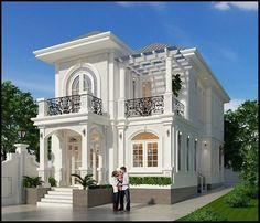 West Golf Villa is part of Classic house design - Architecture,Autodesk Max,Vray,Adobe Photoshop Two Story House Design, Classic House Design, Bungalow House Design, House Front Design, Modern House Design, Classic House Exterior, House Plans Mansion, Model House Plan, Luxury Homes Dream Houses