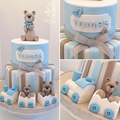 Il battesimo di Tomas. Torta a piani by Bella's Bakery - Monza Baby Shower Cakes For Boys, Baby Shower Themes, Baby Boy Shower, Baby Shower Decorations, Baby Shower Gifts, Daisy Cakes, Gravity Defying Cake, Teddy Bear Cakes, Baby Birthday Cakes