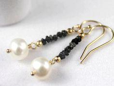 Rough Diamond Pearl Earrings 14K Gold Filled by LiansElegance