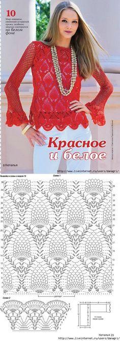 Blusa Vermelha de Crochet.: