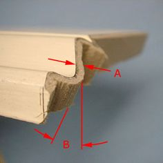 Coped trim after cutting with coping saw, showing back-bevel and excess material. Woodworking Joints, Woodworking Techniques, Woodworking Tips, Basic Carpentry Tools, Trim Carpentry, Baseboard Trim, Baseboards, Cut Crown Molding, Stairs Trim