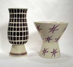 Two Poole Pottery vases  C1955  Shorter vase pattern by Ruth Pavely