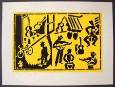 Drums and guitars - Stencilprint