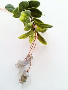 Labradorite Plant Necklace on a Long Copper Chain by CraneGoose