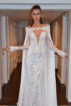 Berta Bridal Spring/Summer 2015 Collection #sexy #bridalgown #longsleeves #cape