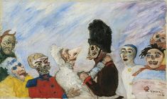 James Ensor 1860 - 1949 SQUELETTE ARRÊTANT MASQUES SIGNED ENSOR AND DATED 91 (LOWER RIGHT); OIL ON CANVAS. PAINTED IN 1891. signé Ensor et daté 91 (en bas à droite) huile sur toile  30,5 x 50,7 cm (dimensions du motif); 33 x 55 cm (dimensions du châssis) 12 x 19 15/16 in. ( dimensions of the pattern); 13 x 21 11/16 in. (dimensions of the stretcher) Peint en 1891. LOT SOLD. 7,357,500 EUR Sotheby's.