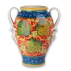 Asti Urn with Handles - Add some breathtaking Italian vibrancy to your home with this stunning ceramic urn. Each hand-painted grape and leaf combined with the hand-coiled ceramic handles serve as a testament to the craftsmanship of Italian artisans. Made in Tuscany and sold at the Italian Pottery Outlet in Santa Barbara, CA