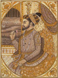 Shah Jahan Mughal Painting HandPainted Mughal Empire Portarit Art from ArtnIndia
