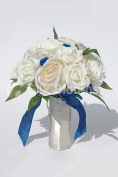 Gorgeous Ivory Rose Wedding Bridesmaid Bouquet w/ Blue Mini Rose