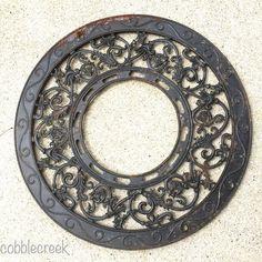 Grate Antique Round Ornate Primitive Heat Register Shabby Cast Iron Vent c1890s #antique #castiron #grate #decorative #metal #patina