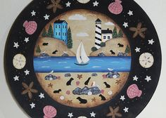 Beach Folk Art Hand Painted Plate, Primitive Lighthouse, Sailboat, Rocky Shore, Seagulls, Seals, Starfish, Ocean, Sea Lions, READY TO SHIP