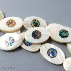 Makabibi Shell with Abalone Shell Inlay Oval by BeadsAndHoney