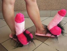 ummmmm no.   Pop Out Of Bed and Put On Pink Hairy Man Thing Slippers ---- hilarious jokes funny pictures walmart humor fails @Marjorie Pampel @Helena Tuzi