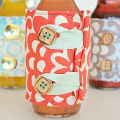 Dress up your naked bottles with these EASY DIY Koozies! Great for summer BBQ's, bridal showers, hostess gifts?