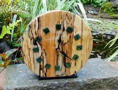 16cm turned clock in spalted silver birch with dichroic glass features by Ann (for Stan's birthday 2015)