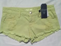 Guess shorts women's size 26 lime green frayed hem cut off look #GUESS #MiniShortShorts #clubwearbeachsummer