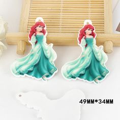 50pcs 49*34mm Cartoon Little Mermaid Princess Flatback Resin Acrylic Charms Planar Resin DIY Craft Jewelry Accessories DL-574
