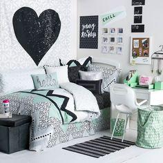 quarto preto & branco, com verde