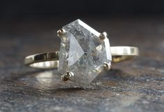 One of a Kind Natural Silver-Grey Geometric Diamond Ring