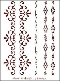"""Henna Whimsical Temporaray Tattoo by Tattoo Fun. $4.95. This 3"""" x 4 1/2"""" sheet of temporary tattoos contains five henna colored designs. There are five arm bands. There are two sets of matching armbands and one individual one. Each design is a beautiful swirled pattern."""
