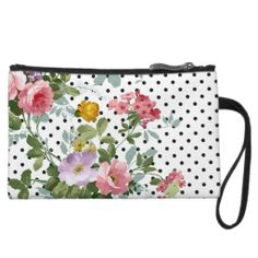 Girly Chic Vintage Pink Floral Trendy Polka Dots Wristlet Clutch