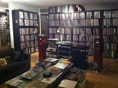 HiFi setup with lots of vinyl storage. Vinyl Record Storage, Lp Storage, Vinyl Music, Vinyl Records, Ikea Expedit Shelf, Home Music, Sound Room, Vinyl Record Collection, Record Cabinet