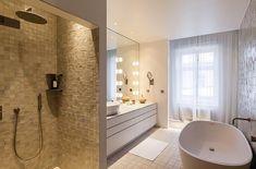 Single sink, soaking tub and window sheers.  SKEPPSHOLMEN Wallingatan 14  Norrmalm  Stockholm 8