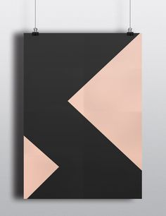 Minimal geometric peach and dark grey large art poster